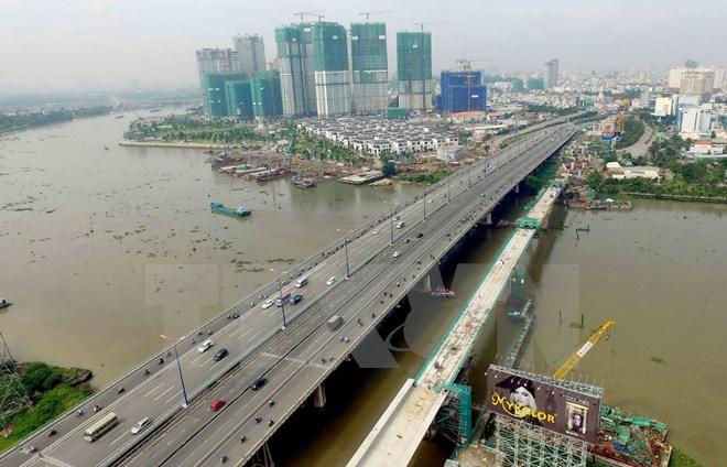 Cầu đường sắt đô thị tuyến metro bắc qua sông Sài Gòn