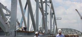 Cầu Ghềnh mới đã hoàn thành 3 nhịp chính